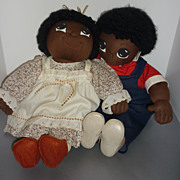 "SALE 1980's ~Blossom Babies~ 23"" Black- Boy & Girl Dolls -Made From -Faye Wine McCall's P"