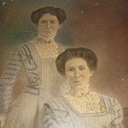 SALE Folk Art Picture of Identical Twin Sisters-Turn of the Last Century