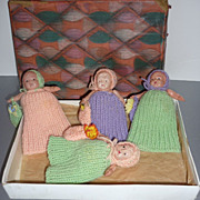 Celluloid Dolls -Set of Four - Wear Knit Outfits in Vintage Box-Cute!