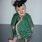 "1940's Chinese -Composition &  Cloth Doll -Original Outfit  5 1/2"" Tall"