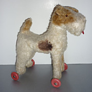 1950's ~Terrier Dog On Wheels~ Lovely For Doll Display