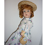 1930's Reliable ~Eaton Beauty Doll~ Vintage Slip, Dress- Straw Hat & Purse