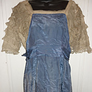 Edwardian Dress for a Lady -Blue-Metallic Lace-Needs Some TLC