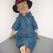 Schoenhut Doll 21/316-Miss Dolly in 1920's Blue Dress & Felt Hat-Artist Please-TLC