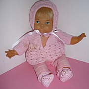 SALE Ideal Newborn Thumbelina Doll -Pretty in Vintage Pink Knit 1968-72