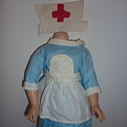 "1940's-50's-Doll Nurse Set -Dress, Pinafore and Hat -16-17"" Doll"