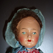 SALE 1930's Cloth and Papier Mache Doll -Original Dress and Bonnet