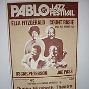 1975 Pablo Jazz Festival Lobby Card- Ella Fitzgerald, Count Basie, Oscar Peterson, Joe Pass