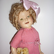 "Reliable Shirley Temple Doll 22"" Lovely Original Wig & Shoes-Pretty in Pink Knit - Canadi"
