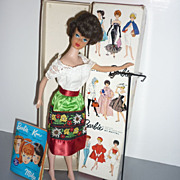 SALE Mattel ~Brunette Sidepart-Bubblecut Barbie~ 1964-65 Box, Stand, Pamphlet #850