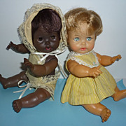 "SOLD Ideal Tearie Dearie -9"" Dolls -African American and Caucasian - Red Tag Sale Item"