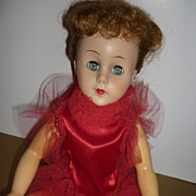1950's Valentine Ballerina Doll-Wears Vintage Red Tutu