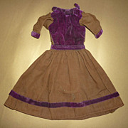 Antique Doll Dress -Wool and Velvet~ Shoe Buttons & Bow Accents