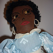 Vintage ~Black Cloth Doll~ Embroidered Face - Tea Cozy