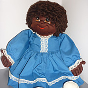 "SALE 1980's ~Blossom Baby~ in Blue -23"" Soft Sculpture Black Doll -From Faye Wine McCalls"