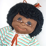 "SALE 1980's ~Blossom Baby~ 23"" Black Doll-Striped Outfit-From Faye Wine McCalls Pattern ."