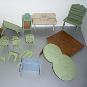 1930's-40's Wooden  Dollhouse Furniture -Project Lot- 11 pieces