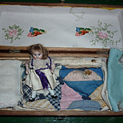 SALE Antique German Dollhouse Doll-Wardrobe, Bedding in Wooden box 1890's-1900