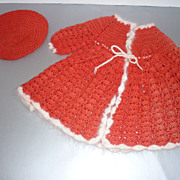 1950's Knit Doll Dress With Matching Beret - Red & White