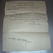 WW 1 Letter - Dated 14th April 1917 -Soldier Killed- From British Red Cross & Order of St. Joh