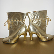 Lotus Gold Lame Boots -Made in the United Kingdom -1970's