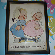 Old~ Mabel Lucie Atwell Print~ They Who Larf Last+ Holy Smoke Kittie Print-Framed