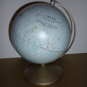 1964  Replogle ~The Moon Globe~ Meredith Corp. Authentic 6&quot; Model on Stand