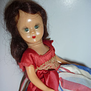 Nancy Ann Story Book Doll - Wears Red, white & Blue Gown -Brunette