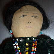 Navajo Doll - 9 3/4&quot; tall - Satin/Velvet Dress, Bead Necklace & Earrings