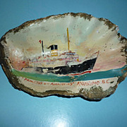 1950's ~Oyster Shell Painting~Nautical-Princess Of Nanaimo Ferry Boat -OOAK