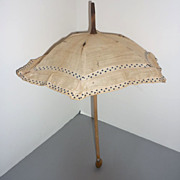 REDUCED Antique Doll Parasol -Linen and Wood-  Ribbon Trimmed -As Found