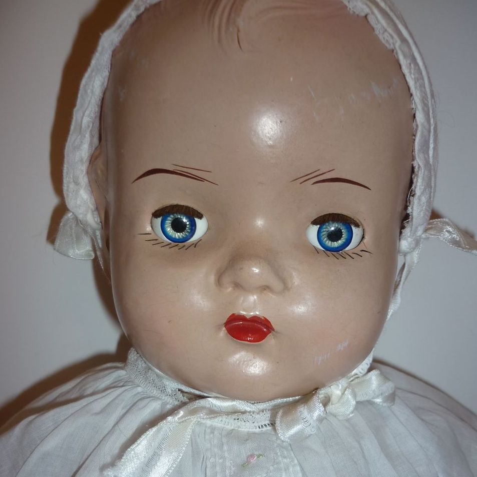 "Reliable Mama Doll - 1934 composition-Big Baby 24"" + Vintage outfit"