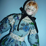"1960's ~Shackman China Head Doll~ 7 1/2"" Tall-  For Dollhouse Original Dress, Bonnet, Lab"