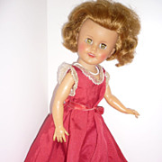 "SALE Ideal Shirley Temple Doll - 1950's - 15"" Vinyl Doll in Party Dress"