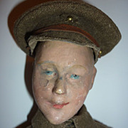 SALE WW1  Papier Mache Soldier Doll  -  16&quot; tall -All Original
