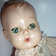 "1950 Tiny Tears Doll by American Character - 11 1/2"" tall- knit outfit"
