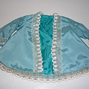 Vintage Taffeta Doll Jacket with Lace- Blue, Teal and Metallic trims