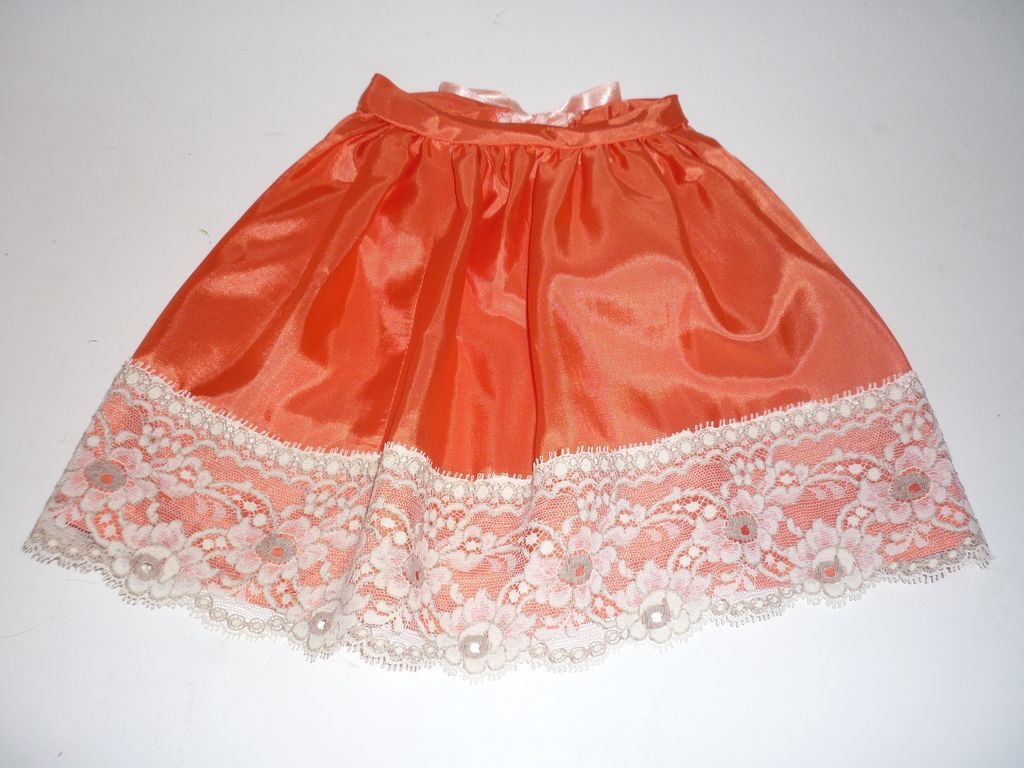 Vintage Lace Petticoat/Slip for a Bisque doll-Orange with lace trim
