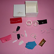 REDUCED Mattel Vintage Barbie Accessories-HTF Short Black Gloves, Earrings & More!