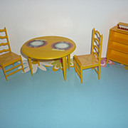 Mattel-Barbie-Dream House Furniture-1970's- Table, Chairs, Bookcase, Radio