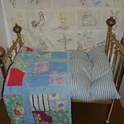 Vintage Brass Doll Bed + Two 1940's Doll Quilts- Ticking Mattress