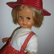 "Furga Doll -1950's Example - 14"" Tall- Bargain Dolly- Red Hat/Outfit"