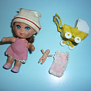Mattel~Florence Niddle Kiddle~ #3507 -With Buggy, Baby & Blanket - From 1967-68