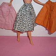 Mattel -Barbie ~Pak Skirt Trio~ 1962-63 Orange, Pink, Black & White Floral