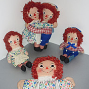 1970's Raggedy Ann & Raggedy Andy Dolls & Puppet -Lot of 5
