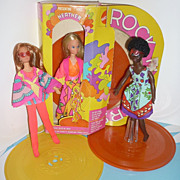 Mattel~ Rock Flower Doll Trio~ Rosemary, Lilac and Heather In Box - 3 Records-All Original