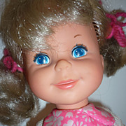 Mattel ~Shoppin' Sheryl Doll ~ -1970-Original Outfit, Hair Ribbons-Shopping Basket & Food Cart