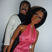 Mego-1976- Sonny & Cher Dolls -Original Outfits and Shoes 12 1/2&quot;