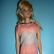REDUCED Mattel ~TNT Barbie Doll~ Blonde Hair -Orange SS-White Mesh Cover-Up 1967