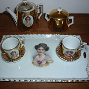 SALE Antique Doll's Tea Set-Portraits of Pretty Ladies-9 Piece-Gold Lustre